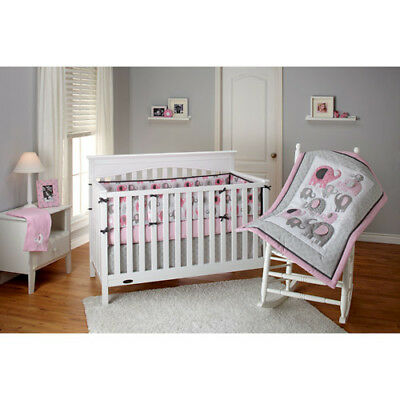 Little Bedding by NoJo Elephant Time 3Pcs Baby Crib Bedding Set, Pink See Detail