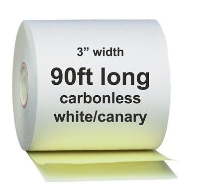 """2 Ply Carbonless Receipt Paper Rolls 3"""" x 90' 2-Ply White/Canary - 50 Rolls"""