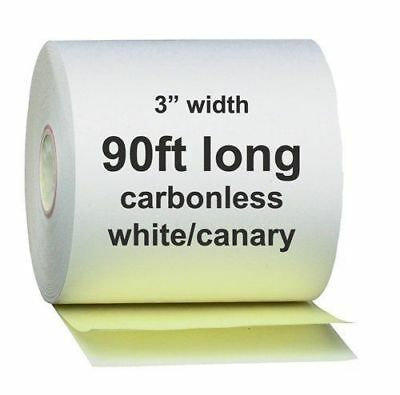 """2 Ply Carbonless Receipt Rolls 3"""" x 90' 2-Ply White/Canary - 50 Rolls"""