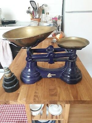 vintage blue kitchen scales with weights
