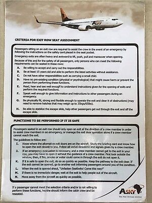 Asky Airlines Safety Card B737 EMERGENCY EXIT Row Seat Only Laminated