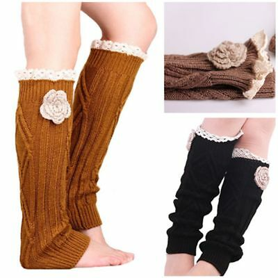 New Cute Winter Warm Women Girl Crochet Knitted Lace Trim Leg Warmer Boot Socks