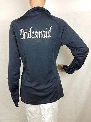 Bridesmaid Active Pullover Danskin Size L Gray Long Sleeve 1/4 Zip