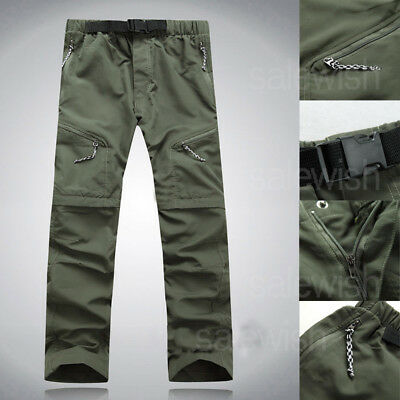 Mens Quick Dry Hiking Fishing Pants Zip Off Leg Casual Cargo Trousers Outdoor SA