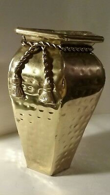 6 Sided SOLID BRASS 7.5 INCH VASE with ornamental Rope design.