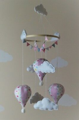 Handmade hot air balloon baby mobile with bunting Pink Cath Kidston
