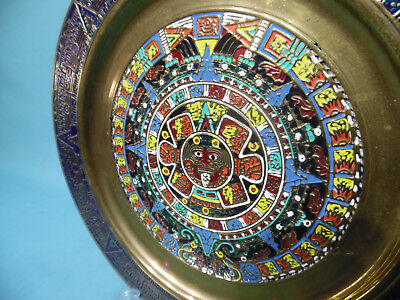Old Brass Mexico Mayan Aztec sun stone calendar wall hanging art plaque Mexican