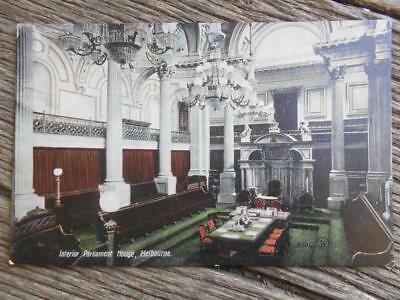 C 1910 Interior Parliament House Melbourne Victoria postcard chambers Valentines