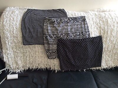 3 x Black & White Mini Skirts Jersey Bodycon Stretch Casual Holiday size 14/16