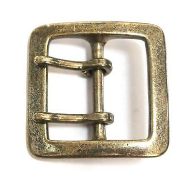 40mm Antique Gold SOLID BRASS HEAVY SQUARE BUCKLE Double Prong Garrison Belt