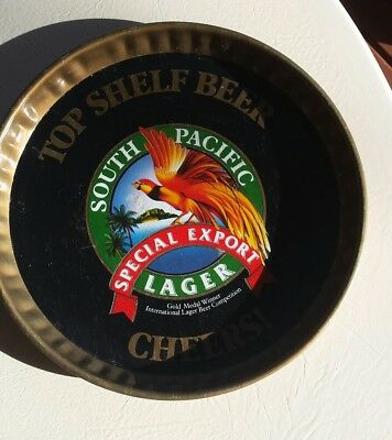 South Pacific Lager Metal Beer Tray 305Mm Diameter C1970