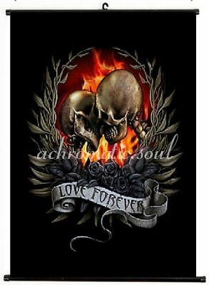 Love Forever Hell Fire Skeletons Kiss Wall Hanging Canvas Scroll