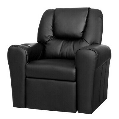 Kid's PU Leather Reclining Arm Chair Black with Drink Holder Thick Foam Padding