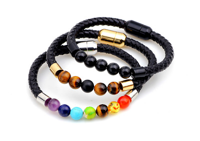 7 Reiki Chakra Natural Stone Bead Handmade Braided Leather Charming Bracelets