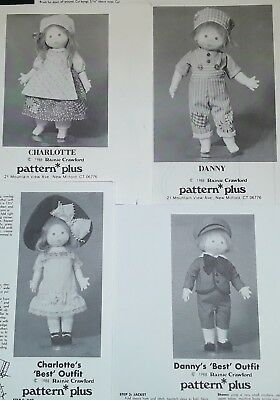 Rainie Crawford Charlotte AND Danny Doll Pattern 1988 Sewing