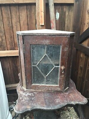 Antique 19th Century Wooden Victorian Oak Glass Fronted Shelved Corner Cabinet