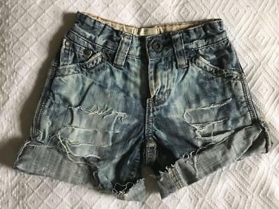 Boys Girls Country Road Distressed Denim Shorts Size 2 EUC