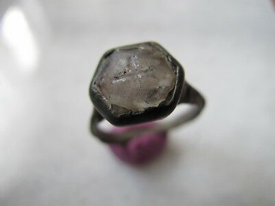 Antique  Medieval Ancient Bronze ring with Mountain crystal stone