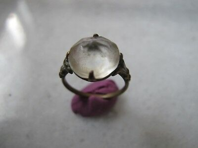 Antique  Medieval Ancient Bronze ring with  Glass stone