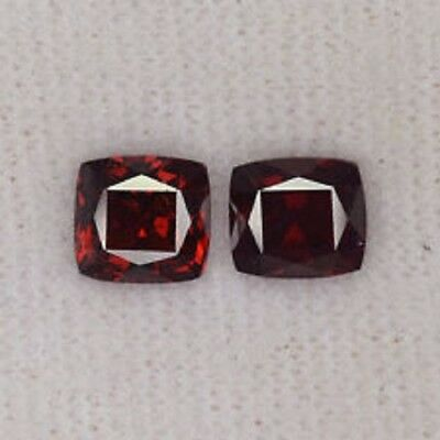Grenat square (2 p.) rouge 2,60 carats -VS- origine : Afrique