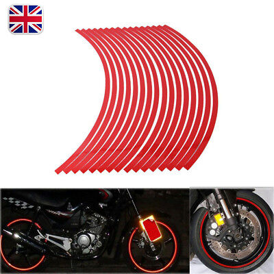 Red 17 inch Reflective Car Motorcycle Bike Wheel Rim Stripe Tape Decal Stickers