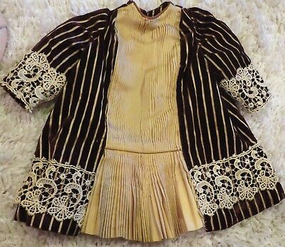 Antique Couture French Fancy Handstitched Velvet Dress for Antique Bisque Bebe