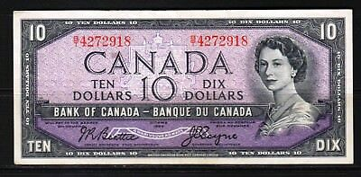 Canada - 1954 Bank of Canada 10 Dollar Banknote P79a VF/aVF+ Condition QEll