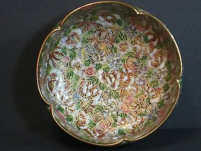 "JAPANESE MEIJI SATSUMA THOUSAND FLOWER MINIATURE BOWL, 3 1/2"" Dia, MARKED, RARE!"