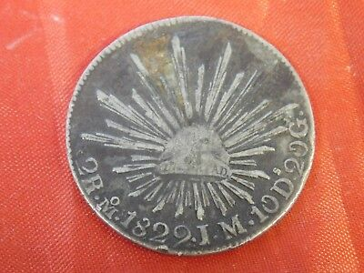 1829 Mexico First Republic Silver 2 Reales