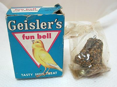 Vintage Geisler's Fun Bells Tasty Seed Treat For Canaries Great Box w Bell!  T65