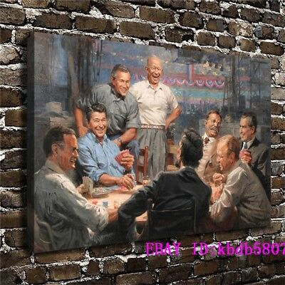 Presidents Playing Poker ,Canvas Prints Wall Art Oil Painting Home Decor 24x36