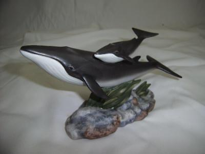 1995 Masterpiece Porcelain By Homco Endangered Species Fin Whales Sculpture