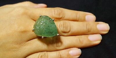 Rare Huge 55ct Natural Emerald Cocktail Ring 18K Rose Gold Antique Mughal Style