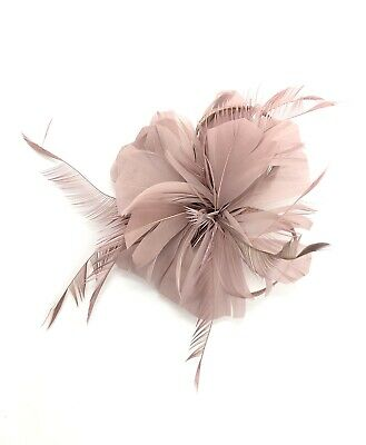 Dusky Pink Feather Fascinator Hair Clip Ladies Day Races Party Wedding