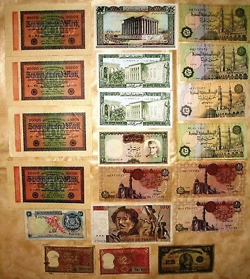 World - Collection of 20 world Banknotes, France, Singapore, Canada.more
