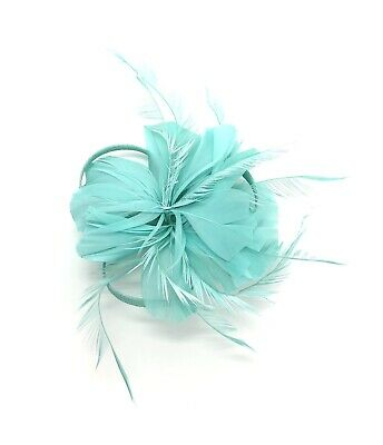 Mint Green Feather Fascinator Hair Clip Ladies Day Races Party Wedding