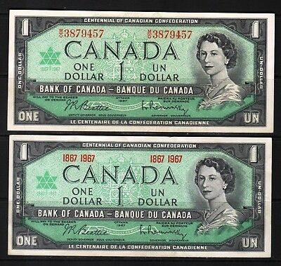 Canada - 1967 Bank of Canada 2X1 Dollar Banknote P84a-b XF+ Condition QEll