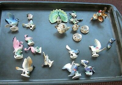 Miniature Bird Lot - 19 Birds And Little Tea Set = Bone China Japan