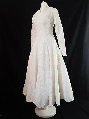 Vintage 50s Dress Wedding 40s  White Lace Rockabilly True Original Circle Uk 8