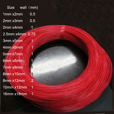 Red PTFE Teflon Tube Tubing Sleeving Pipe In Various sizes and Pack SIZES