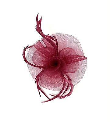 Burgundy Feather Fascinator Hair Clip Ladies Day Races Party Wedding