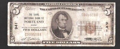 Rare The Canal National Bank Of Portland Maine Charter 941
