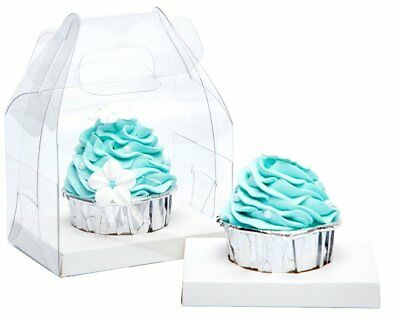 Bakery Clear Single Cupcake Boxes With Handle and White Insert 5 Pack 3 COLORS