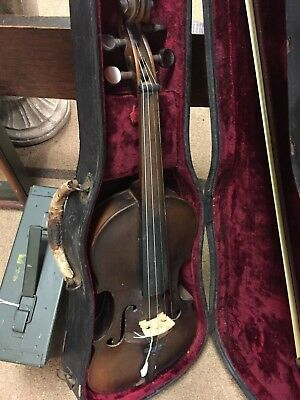 Antique First National Institute Violin  with Case And Bow