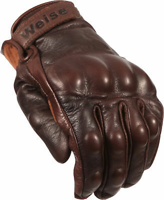 Weise Victory Vintage Retro Classic Brown Motorbike Goat Leather Armoured Gloves