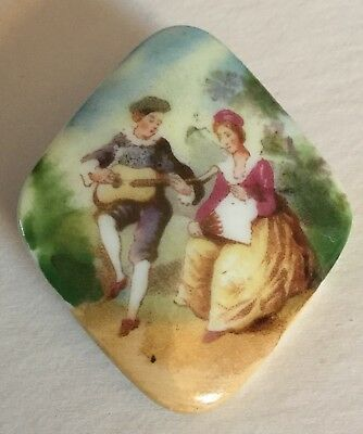Couple Figures Fan Music Spindle Shape Porcelain Old Picture Button Old Large