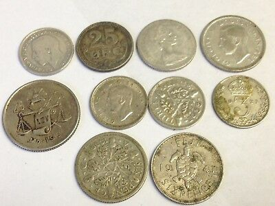 10 x World / Foreign vintage SILVER Coins - variety lot, as pictured, Lot #30