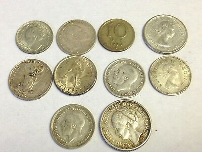 10 x World / Foreign vintage SILVER Coins - variety lot, as pictured, Lot #31