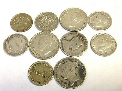 10 x World / Foreign vintage SILVER Coins - variety lot, as pictured, Lot #32