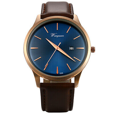Mens Military Sports Date Calender Leather Band Quartz Analog Wrist Watch Brown